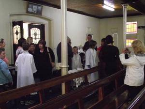 Amy meets Fr before Mass