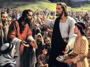 Jesus about to feed 5000 modern painting