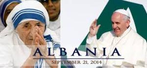 Pope Fr w pic of Bl M Teresa - Albania Visit 21.09.2014