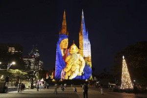 St Mary's Cathedral Christmas Lights - Sydney 2013