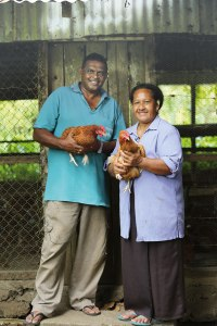 Eric & Ma at the chicken coop