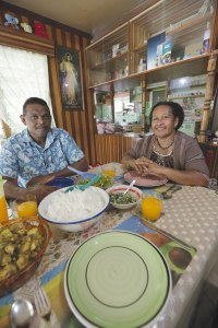 Eric & Ma enjoy meal with 70% of home-grown veggies