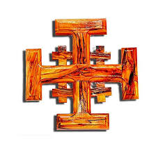 Jerusalem Cross #7 - on Olive wood