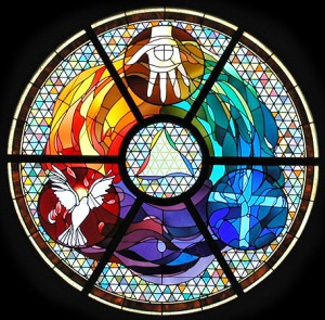 #3 Trinity - in stained glass - modern symbols