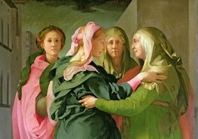 BEN60438 The Visitation, 1528-30 (fresco) (see 208284 & 60439 for details);Pontormo, Jacopo (1494-1557);fresco;450 X 600;San Michele, Carmignano, Prato, Italy;Out of copyright