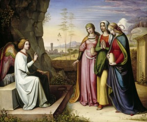 An angel and three women are shown at the empty tomb of Christ in this depiction of Easter morning by German painter Peter von Cornelius. Easter, the feast of the Resurrection, is April 24 in the Latin-rite Catholic Church this year. (CNS/BPK/Bayerische Staatsgemälde-Sammlungen/Art Resource) (March 28, 2011) EDITORS: MANDATORY CREDIT AS GIVEN. FOR ONE-TIME EDITORIAL USE UNTIL MAY 25, 2011. NO USE IS PERMITTED AFTER MAY 25, 2011.