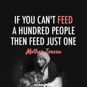 M Teresa w quote If you can't feed...